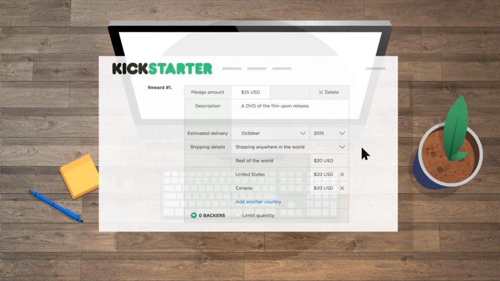 kickstarterの操作画面写真